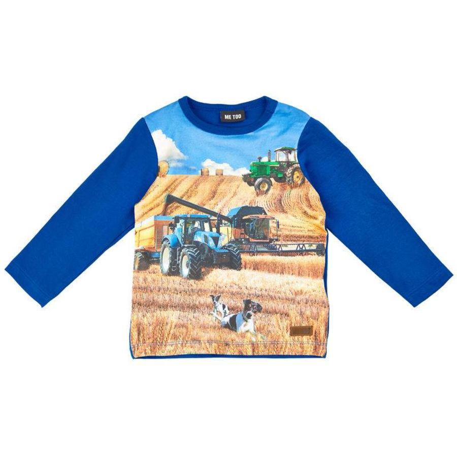 T-shirt met tractor in blauw- lange mouwen