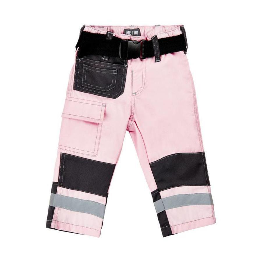 Roze kinder werkbroek met zakken en kniestukken-1