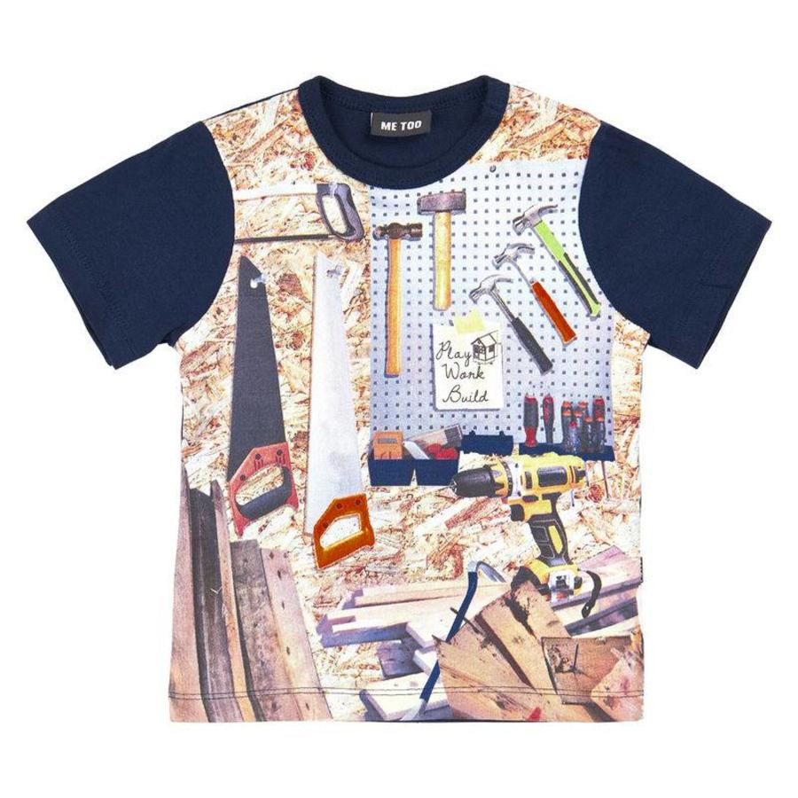 blue shit sleeved T-shirt with tools
