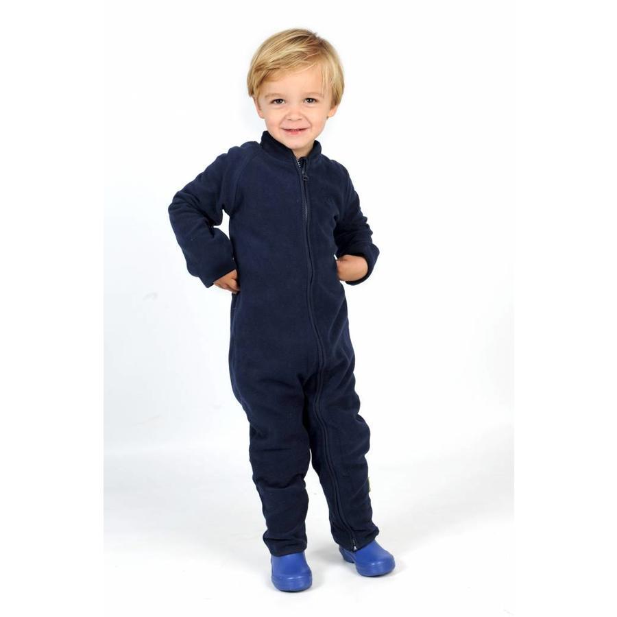 Fleece suit navy, red overalls-2