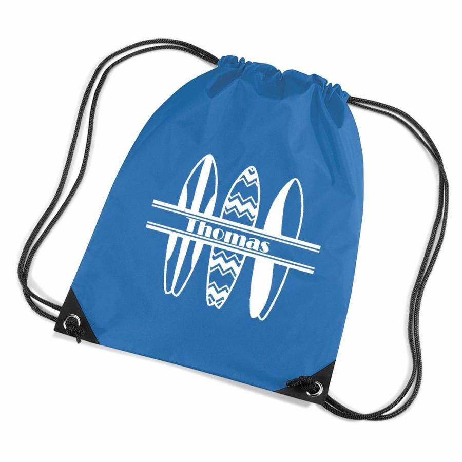 Personalised drawstring gymbag with surfboards and your name-1
