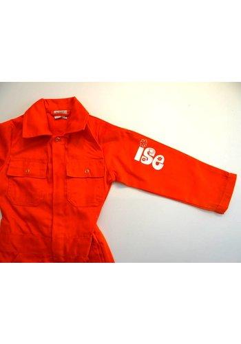 Bedrukte oranje overall met tekst of naam