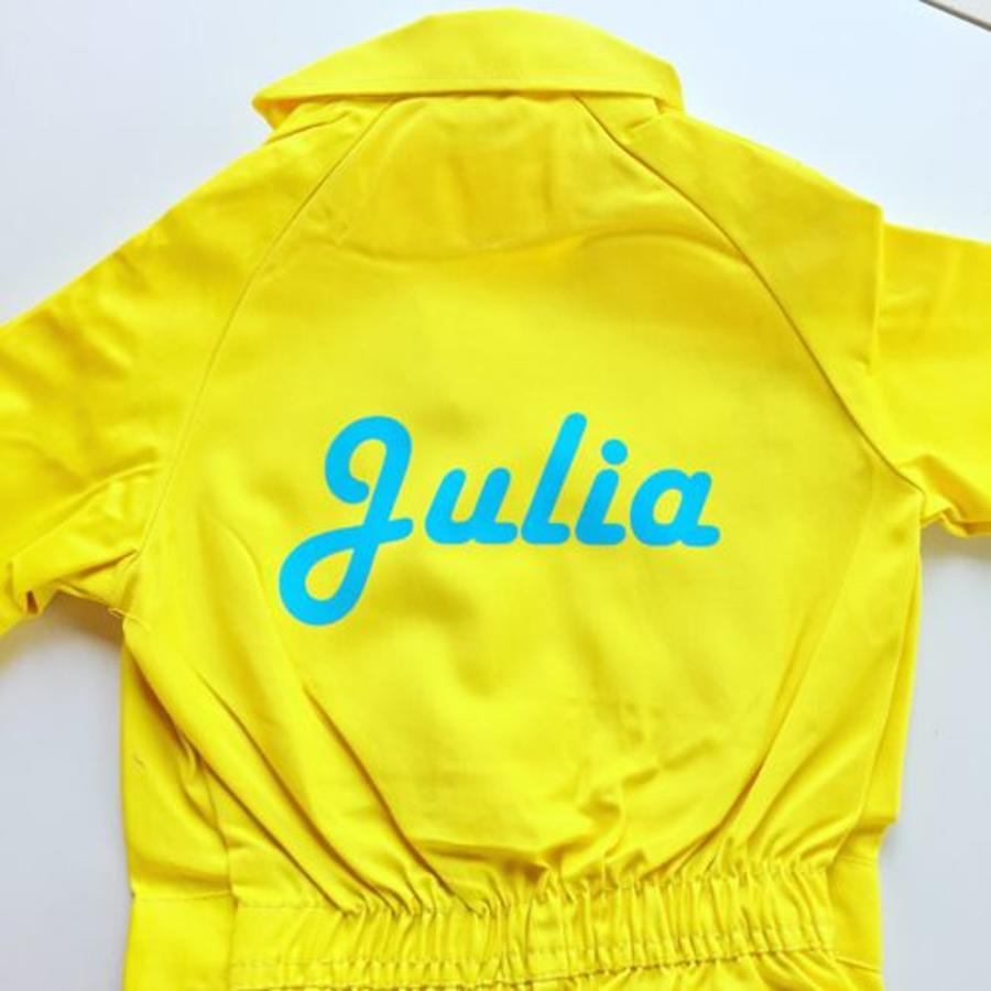 Yellow overall with name or text printing-1