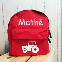 thumb-Backpack with name print and tractor, farm theme-1