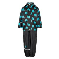 Waterproof rainsuit: raincoat and rainpants in black with elephant print