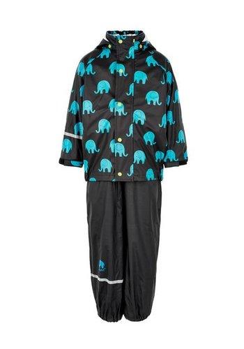 CeLaVi Regenbroek en regenjas met olifanten print in zwart - turquoise