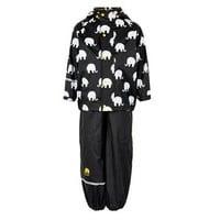 thumb-Regenbroek en regenjas met olifanten print in zwart  en gele en witte accenten-1