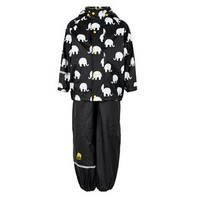 Waterproof rainsuit: raincoat and rainpants in black/yellow with elephant print