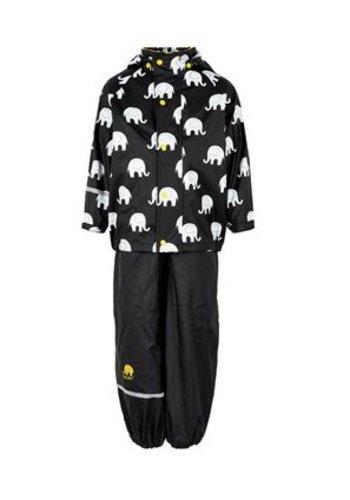 CeLaVi Regenbroek en regenjas met olifanten print in zwart /geel