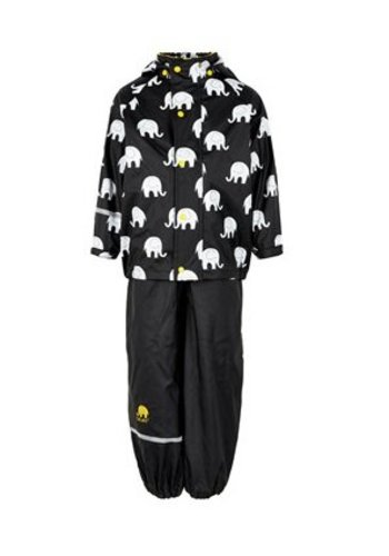 CeLaVi Waterproof rainsuit with hood in black/yellow with elephants