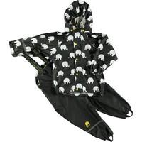thumb-Regenbroek en regenjas met olifanten print in zwart  en gele en witte accenten-2