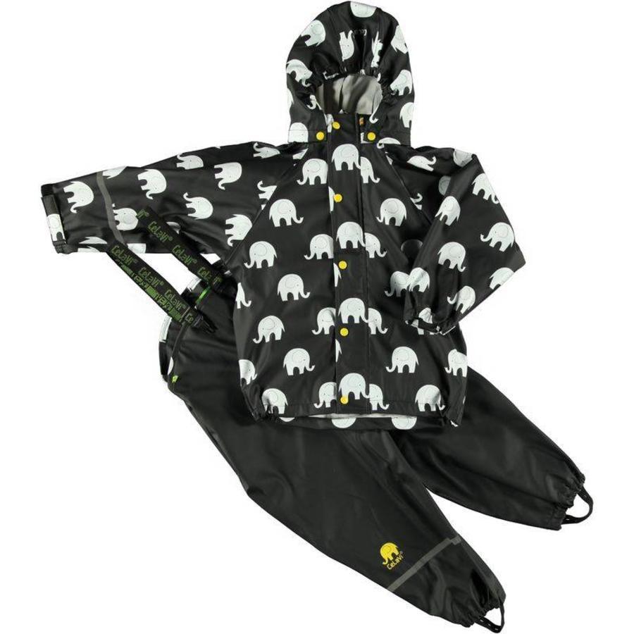 Regenbroek en regenjas met olifanten print in zwart  en gele en witte accenten-2
