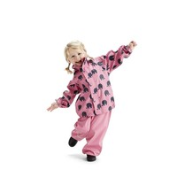 thumb-Waterproof rainsuit: raincoat and rainpants in pink with black elephants-1