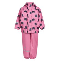 thumb-Waterproof rainsuit: raincoat and rainpants in pink with black elephants-2