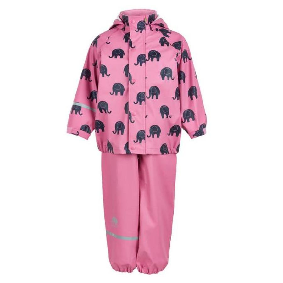 Regenbroek en regenjas met olifanten print in roze met zwarte accenten