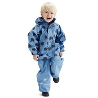 Waterproof rainsuit: raincoat and rainpants in blue with black elephants