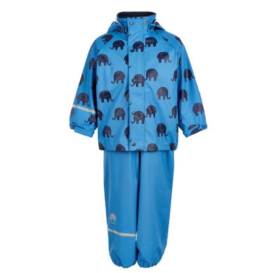 Regenbroek en regenjas met olifanten print | blauw| 110-140-2