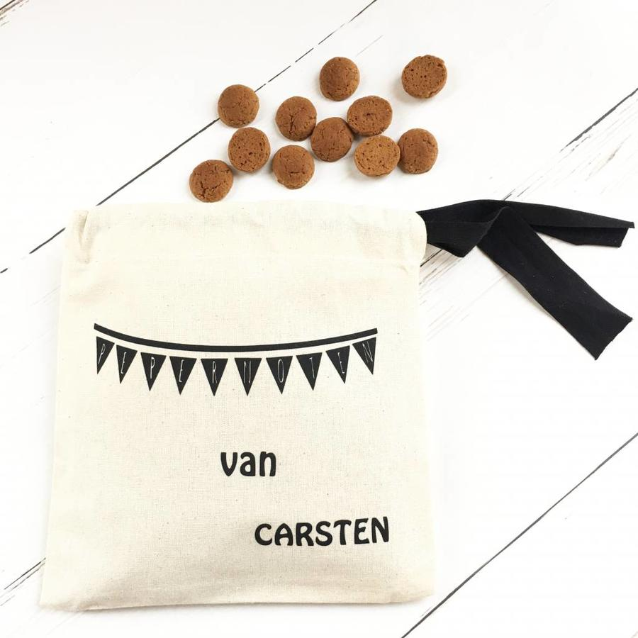 Cotton peppermint bag with name and flag line