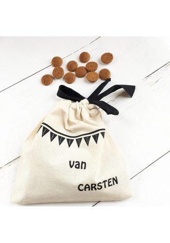 Pepernoten bag with name flag line