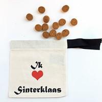 Katoenen pepernotenzakje met tekst 'Ik hou van Sinterklaas'