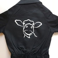 Overall printed with cow sketch
