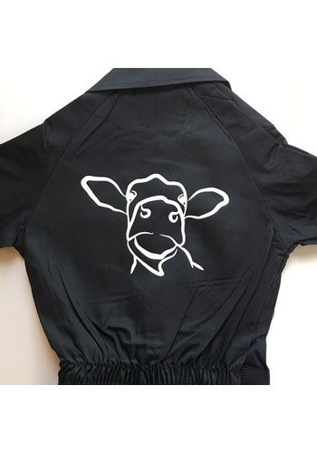 Overalls with cow sketch