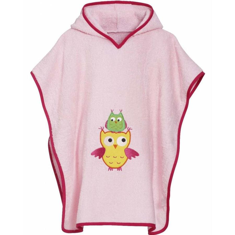 Pink beach poncho, bath poncho - Owl-1