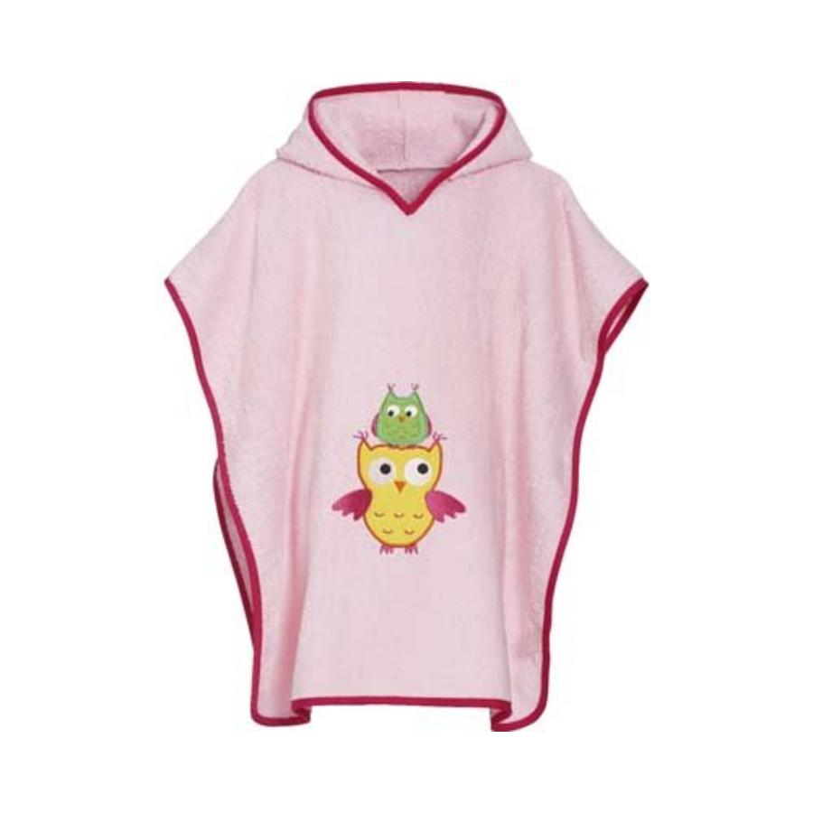 Pink beach poncho, bath poncho - Owl-2