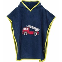 Blue beach poncho, bath poncho -  Fire Engine