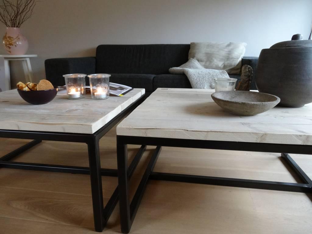 pure wood design industri le salontafel steigerhout staal open nordic living. Black Bedroom Furniture Sets. Home Design Ideas