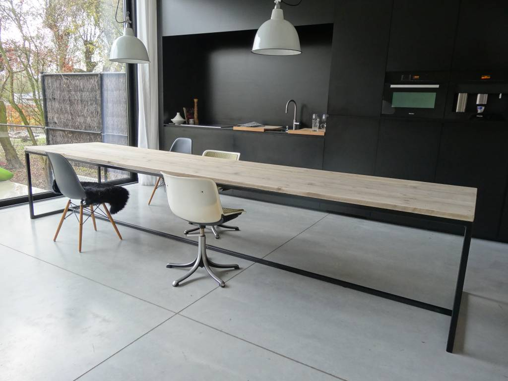 Tafel Hout Staal : Bankje frame firma hout staal