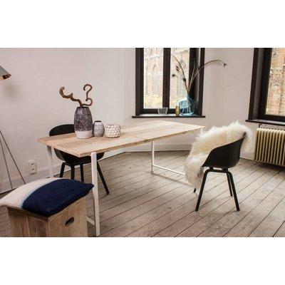 PURE Wood Design 'Nordby' industriële tafel steigerhout zwevend blad/stalen frame