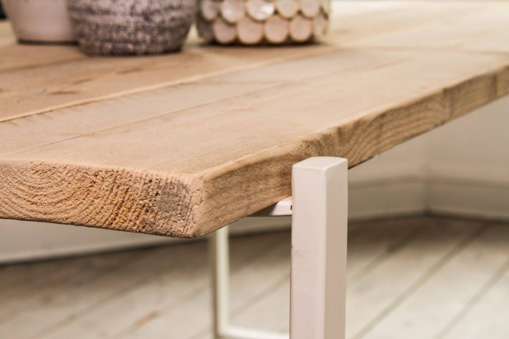 PURE wood design industriële tafel steigerhout zwevend blad/stalen ...