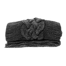 HK Living handgeknoopt deken stonewash zwart