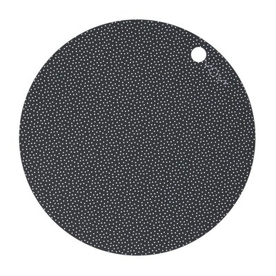 OYOY Placemats donker grijs - dot print