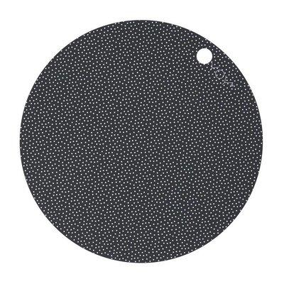 OYOY Placemats donker grijs - dot print
