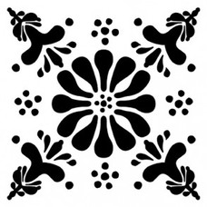 Tile Junkie Tegelsticker - flower Black/white