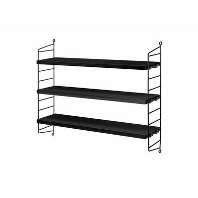 String Furniture: wandrekken & modulair kastensysteem | Nordic Living Pocket Black Stained ash/Black
