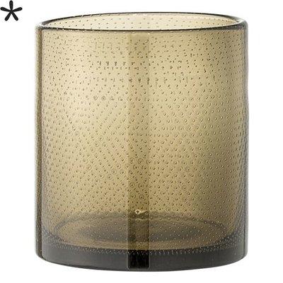 Bloomingville Waxinelichthouder puntjes bruin glas