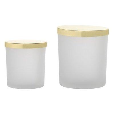Bloomingville Set Glazen potjes wit/goud