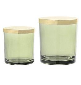Bloomingville Set glazen potjes groen/goud