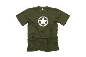 T-shirt met witte ster Groen