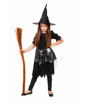 Magicoo Spinnen heksenjurk voor meisjes zwart zilver