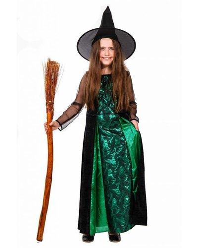 Magicoo Heksenjurk Deluxe voor meisjes groen zwart