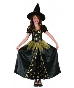 Magicoo Heksenkoningin - Heksen kostuum voor kinderen goud-zwart