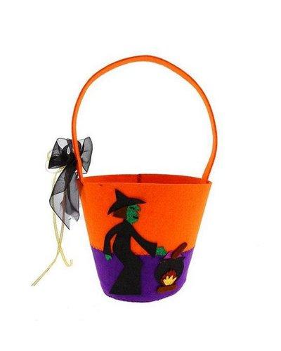 Magicoo Halloween mand oranje/groen/lila voor snoep