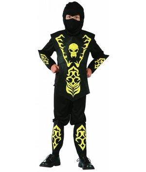 Magicoo Zwart/geel Ninja kostuum kinderen