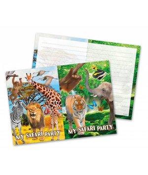 Magicoo Safari dieren party uitnodigingen