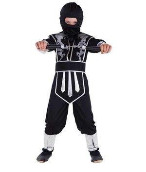 Magicoo Zwart zilveren Ninja kostuum kind