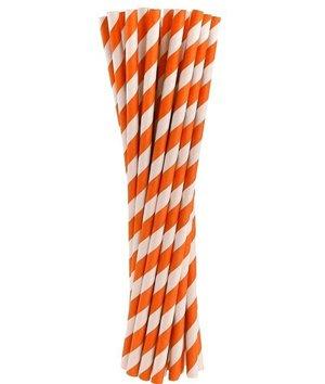 Magicoo Rietjes oranje met strepen - 24  stuk